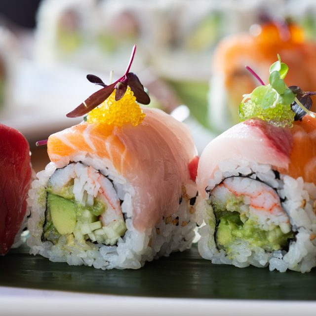 The Rainbow sushi roll at RED